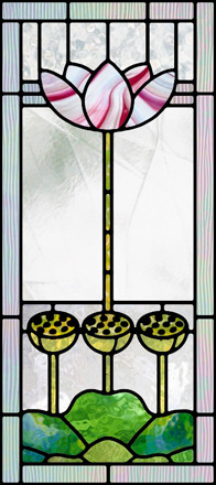 Art Deco Lotus Stained Glass Pattern
