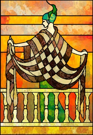 ert fashion drawing stained glass pattern. Black Bedroom Furniture Sets. Home Design Ideas