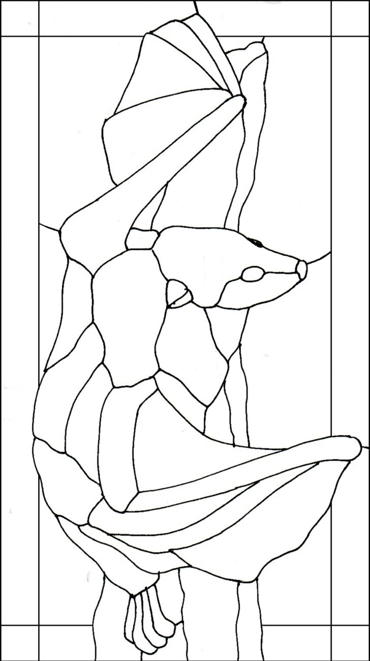 Flying Fox Tropical Fruit Bat Stained Glass Pattern