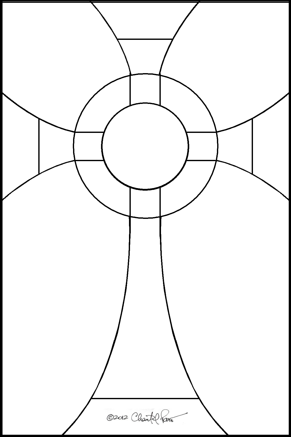 stained glass pattern for a simple cross