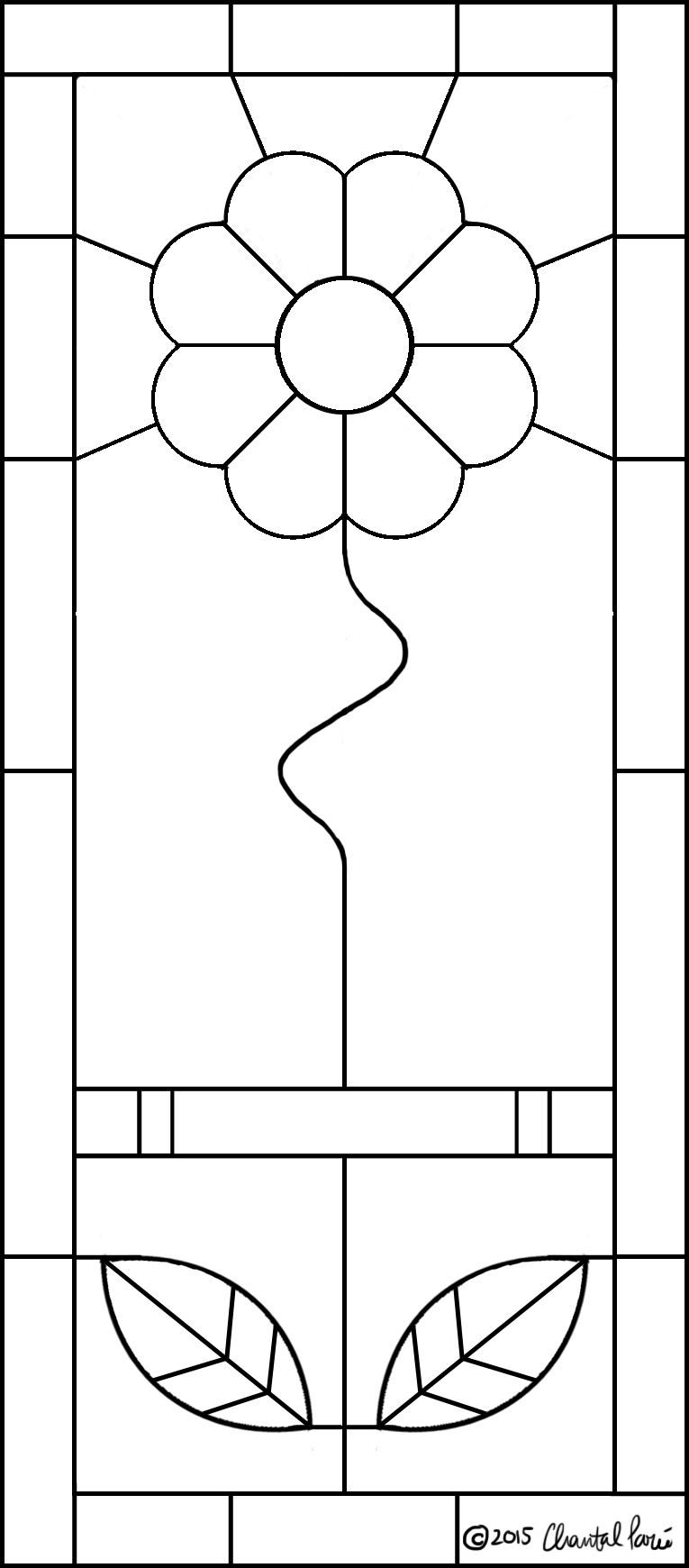'Simple Flower' Stained Glass Pattern